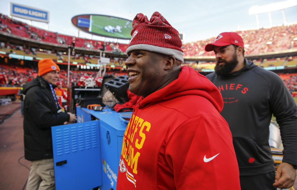 Kansas City Chiefs offensive coordinator Eric Bieniemy smiles as he walks off the field during a win in 2018. Bieniemy was up for several head coaching jobs this offseason. (Getty)