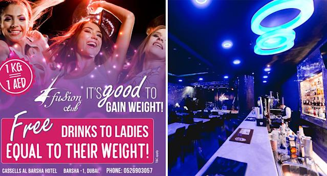 Fusion Bar in Dubai offers women free drinks based on what they weigh. [Photo: Supplied]