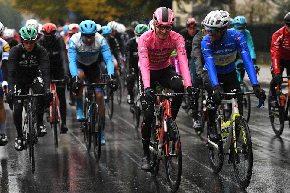 ASTI ITALY  OCTOBER 23 Wilco Kelderman of The Netherlands and Team Sunweb Pink Leader Jersey  Ruben Guerreiro of Portugal and Team EF Pro Cycling Blue Mountain Jersey  during the 103rd Giro dItalia 2020 Stage 19 a 258km stage from Morbegno to Asti  girodiitalia  Giro  on October 23 2020 in Asti Italy Photo by Tim de WaeleGetty Images