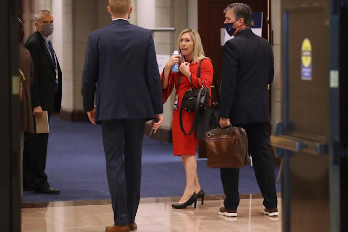 Marjorie Taylor Greene is seen in between meetings during an orientation for new members of Congress on Capitol Hill in Washington, D.C., Friday. (Photo by Chip Somodevilla/Getty Images)