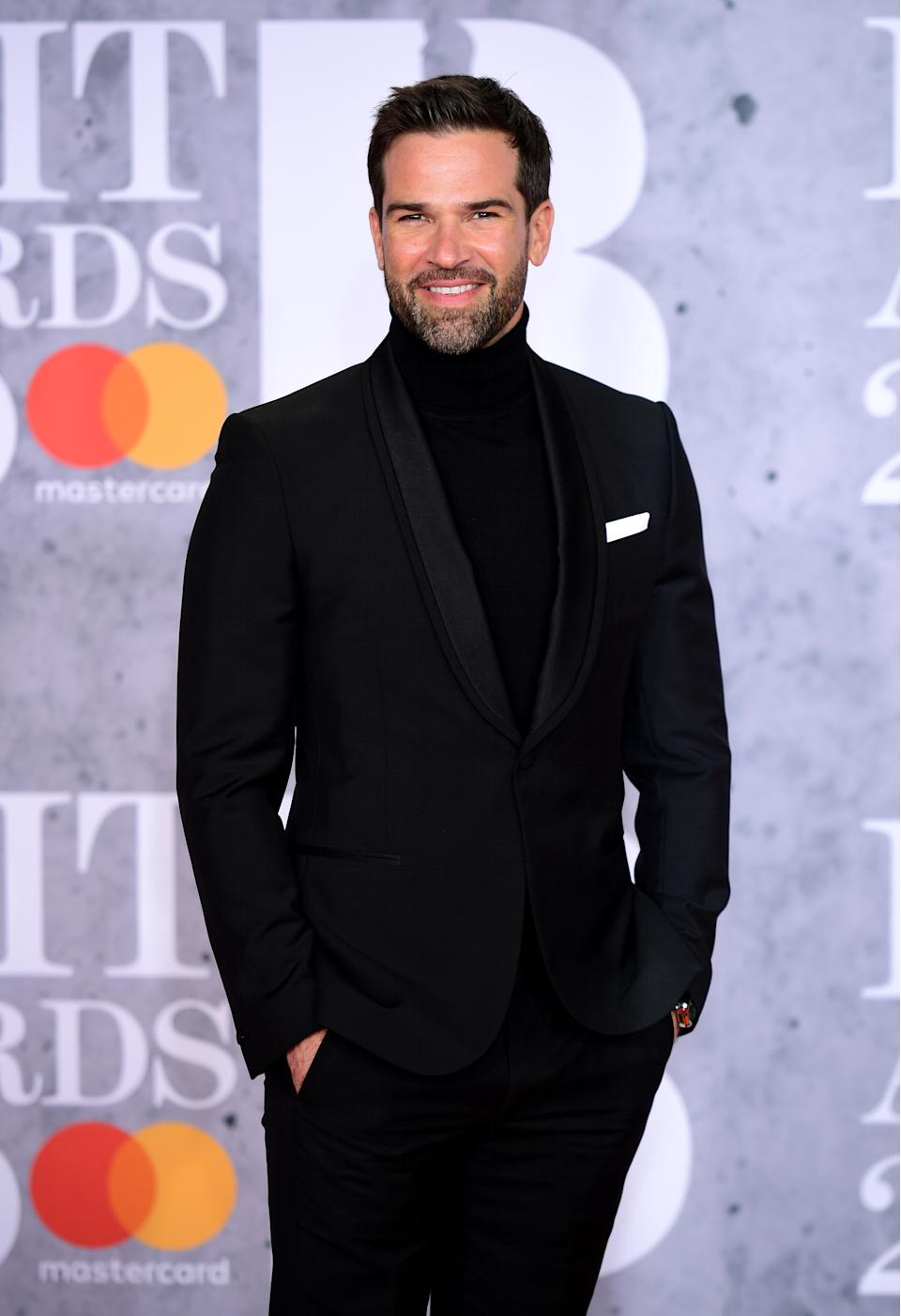 Gethin Jones attending the Brit Awards 2019 at the O2 Arena, London.