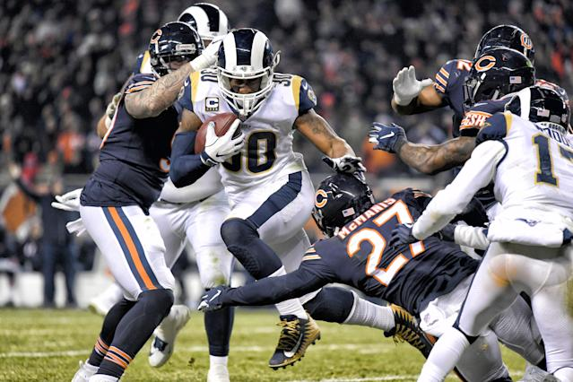 Los Angeles Rams running back Todd Gurley (30) battles with Chicago Bears defensive back Sherrick McManis (27) in action on December 09, 2018 at Soldier Field in Chicago, IL. (Photo by Robin Alam/Icon Sportswire via Getty Images)