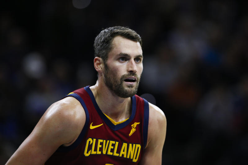 Cleveland Cavaliers' Kevin Love coaches during an NBA basketball game against the Philadelphia 76ers, Tuesday, Nov. 12, 2019, in Philadelphia. (AP Photo/Matt Slocum)