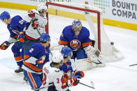 New York Islanders goaltender Semyon Varlamov (40) makes a save against the Washington Capitals during the second period of an NHL hockey game, Thursday, April 22, 2021, in Uniondale, N.Y. (AP Photo/Kathy Willens)