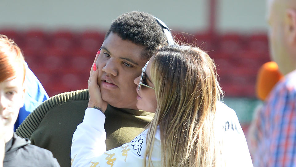 Katie Price and son Harvey attend Sellebrity Soccer Match in aid of Smile For Joel and Compton Hospice on May 13, 2017. (Photo by Eamonn M. McCormack/Getty Images)