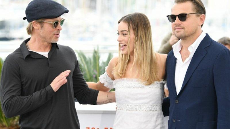 The stars of Quentin Tarantino's new flick, Brad Pitt, Margot Robbie and Leonardo DiCaprio, have been on the receiving end of a very awkward moment. Photo: Getty