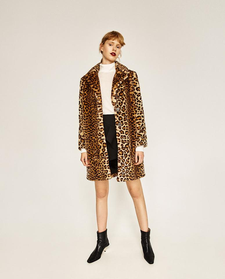 """<h2>A Trendy Coat</h2>                                                                                                                                                                             <p><p>Outerwear is expensive, which is why Zara is a hub for fashion-forward styles at affordable prices.</p> <p><a rel=""""nofollow"""" href=""""http://www.zara.com/us/en/woman/outerwear/view-all/faux-fur-leopard-coat-c733882p4338001.html"""">Faux-Fur Leopard Coat, $169</a></p>"""