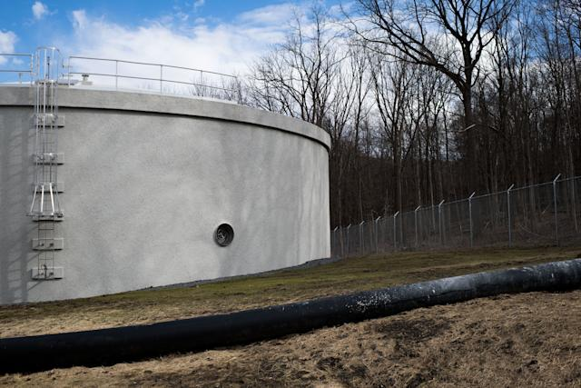 A new water tank that can hold over 1 million gallons of water sits outsidea new filtration plant in Newburgh onFeb.26, 2018.