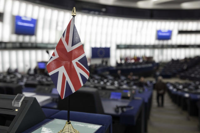 """A British flag is pictured at the European Parliament during a debate on Brexit, Wednesday, Jan.16, 2019 in Strasbourg. European Union Brexit negotiator Michel Barnier says the bloc is stepping up preparations for a chaotic no-deal departure of Britain from the bloc after the rejection of the draft withdrawal deal in London left the EU """"fearing more than ever that there is a risk"""" of a cliff-edge departure. (AP Photo/Jean-Francois Badias)"""