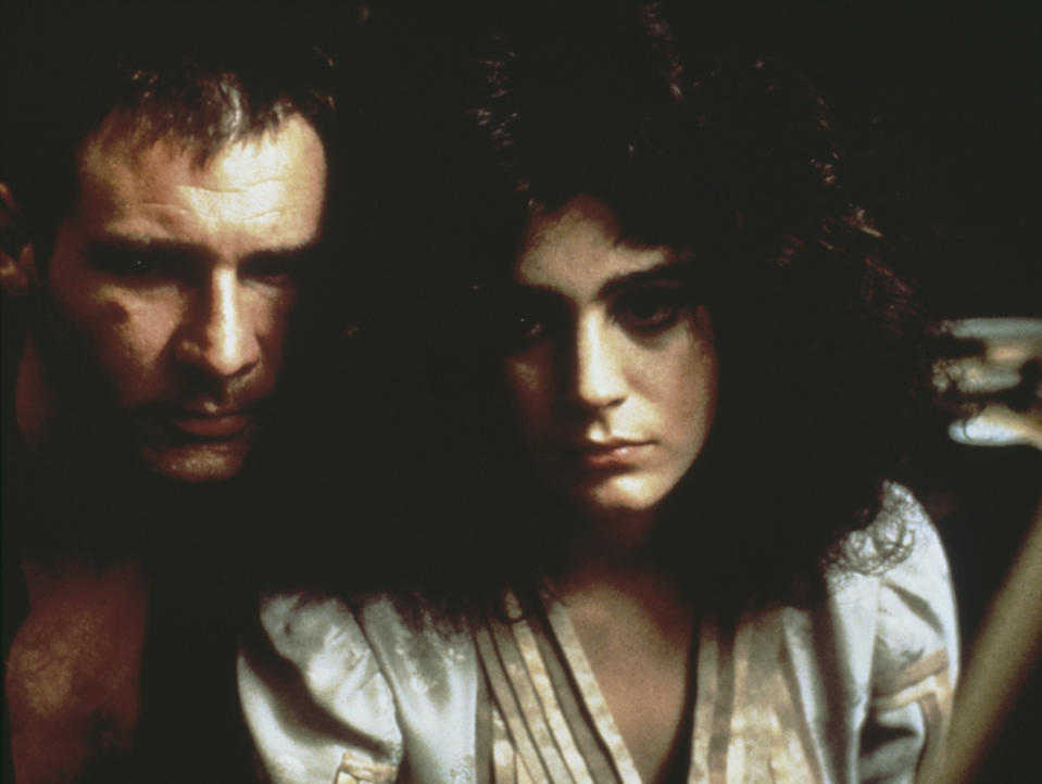 Sean Young co-starred with Harrison Ford in 1982's<em> Blade Runner.</em> She also had roles in <em>Dune, Wall Street, No Way Out,</em> and <em>Ace Ventura: Pet Detective,</em> among others. (Photo: Warner Bros./Archive Photos/Getty Images)