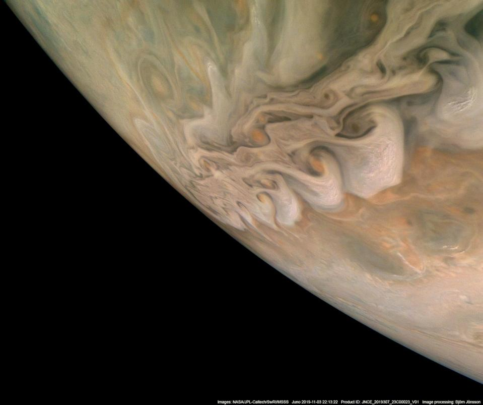 From NASA: NASA's Juno spacecraft captured this impressive image revealing a band of swirling clouds in Jupiter's northern latitudes during Juno's close flyby on Nov. 3, 2019. Small pop-up storms can also be seen rising above the lighter areas of the clouds, most noticeably on the right side of the image.