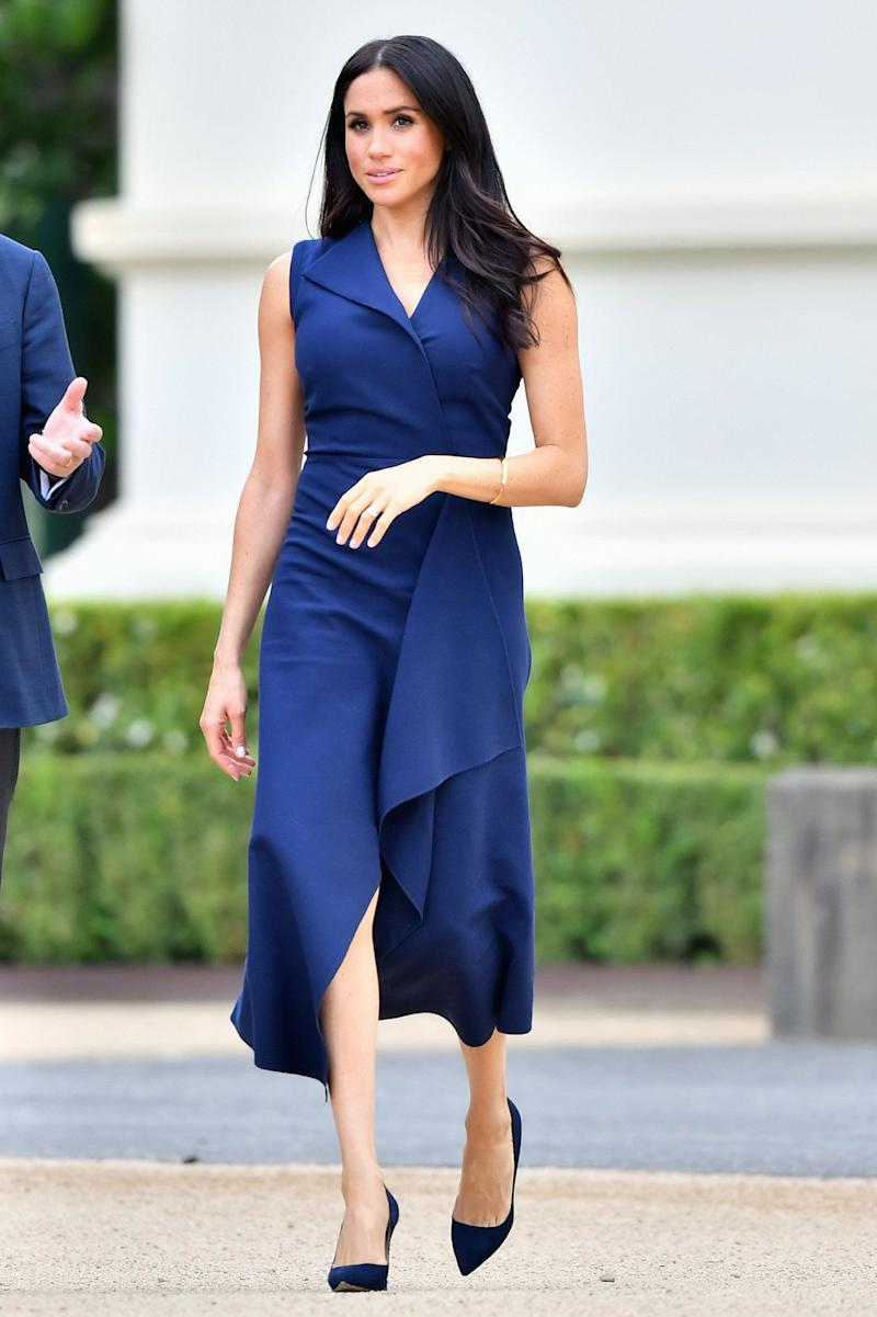 Meghan, Duchess of Sussex, attends a reception hosted by the Honourable Linda Dessau AC, Governor of Victoria, and Anthony Howard QC at Government House Victoria on Oct. 18 in Melbourne, Australia.
