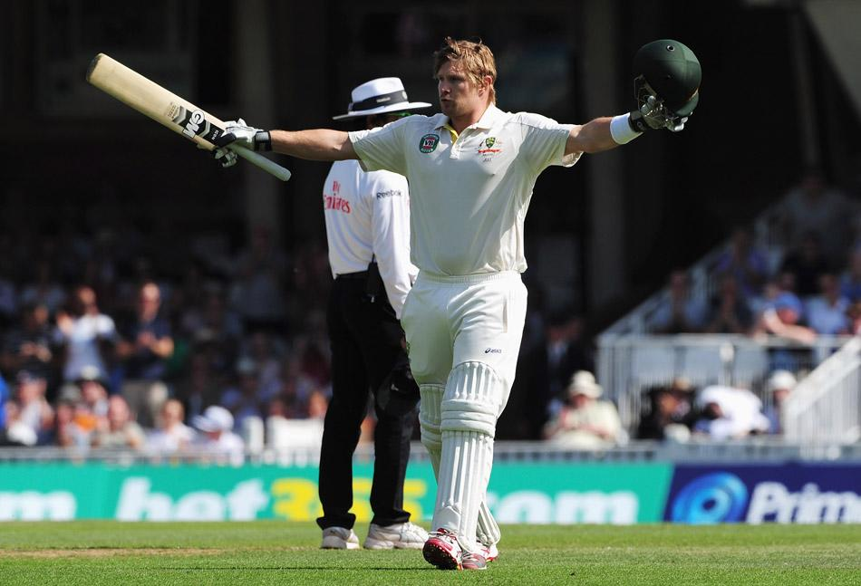 LONDON, ENGLAND - AUGUST 21:  Shane Watson of Australia celebrates his century during day one of the 5th Investec Ashes Test match between England and Australia at the Kia Oval on August 21, 2013 in London, England.  (Photo by Shaun Botterill/Getty Images)