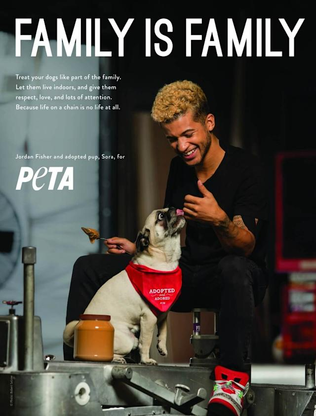 Jordan Fisher says his adopted dog, Sora, is part of his family. (Photo: PETA)