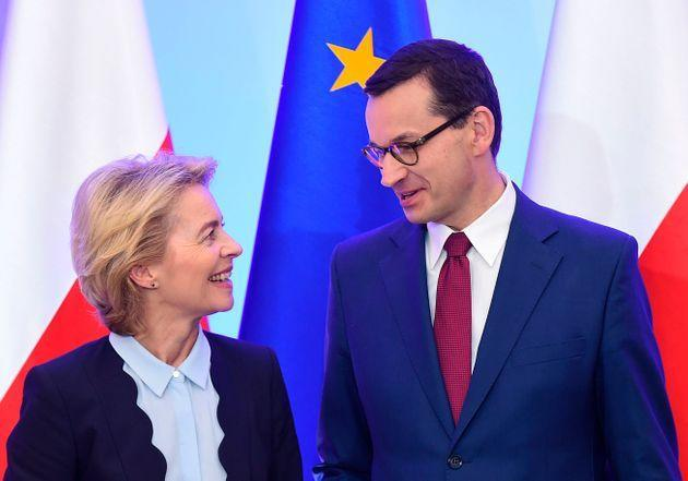 European Commission Chief Ursula Von der Leyen and Polish Prime Minister Mateusz Morawiecki share a smile during a meeting in Warsaw on July 25, 2019. (Photo by Janek SKARZYNSKI / AFP)        (Photo credit should read JANEK SKARZYNSKI/AFP via Getty Images) (Photo: JANEK SKARZYNSKI via Getty Images)