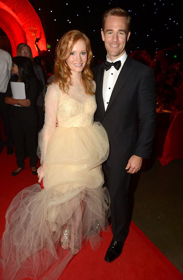 James Van Der Beek and wife Kimberly Van Der Beek attend the 64th Annual Primetime Emmy Awards Governors Ball at Nokia Theatre L.A. Live on September 23, 2012 in Los Angeles, California.