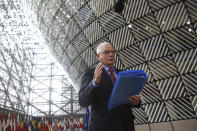 European Union foreign policy chief Josep Borrell speaks to the media prior to a meeting of the European Foreign Affairs Ministers, at the European Council headquarters in Brussels, Monday, March 22, 2021. (Aris Oikonomou, Pool Photo via AP)