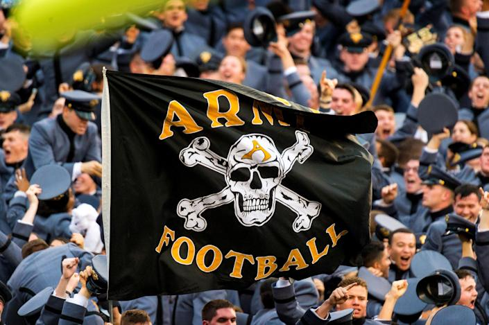 Image: The Army Black Knights flag during a football game between Army and the Navy Midshipmen in Philadelphia in 2015. (Gavin Baker / Icon Sportswire via Getty Images file)