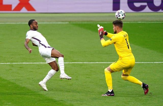 Raheem Sterling saw an early chance hit the far post