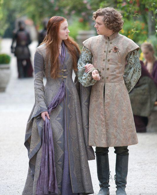 """<p>In Season 3, purple becomes Sansa's signature color. Maybe it's her way of trying to mix Lannister red with Winterfell blue. Maybe it's an expression of how she's growing up and becoming a darker person. Maybe it symbolizes the fact that she's royalty in her own right (can we get a """"Queen of the North"""" chant, please?), even as she's being abused in another court. </p>"""