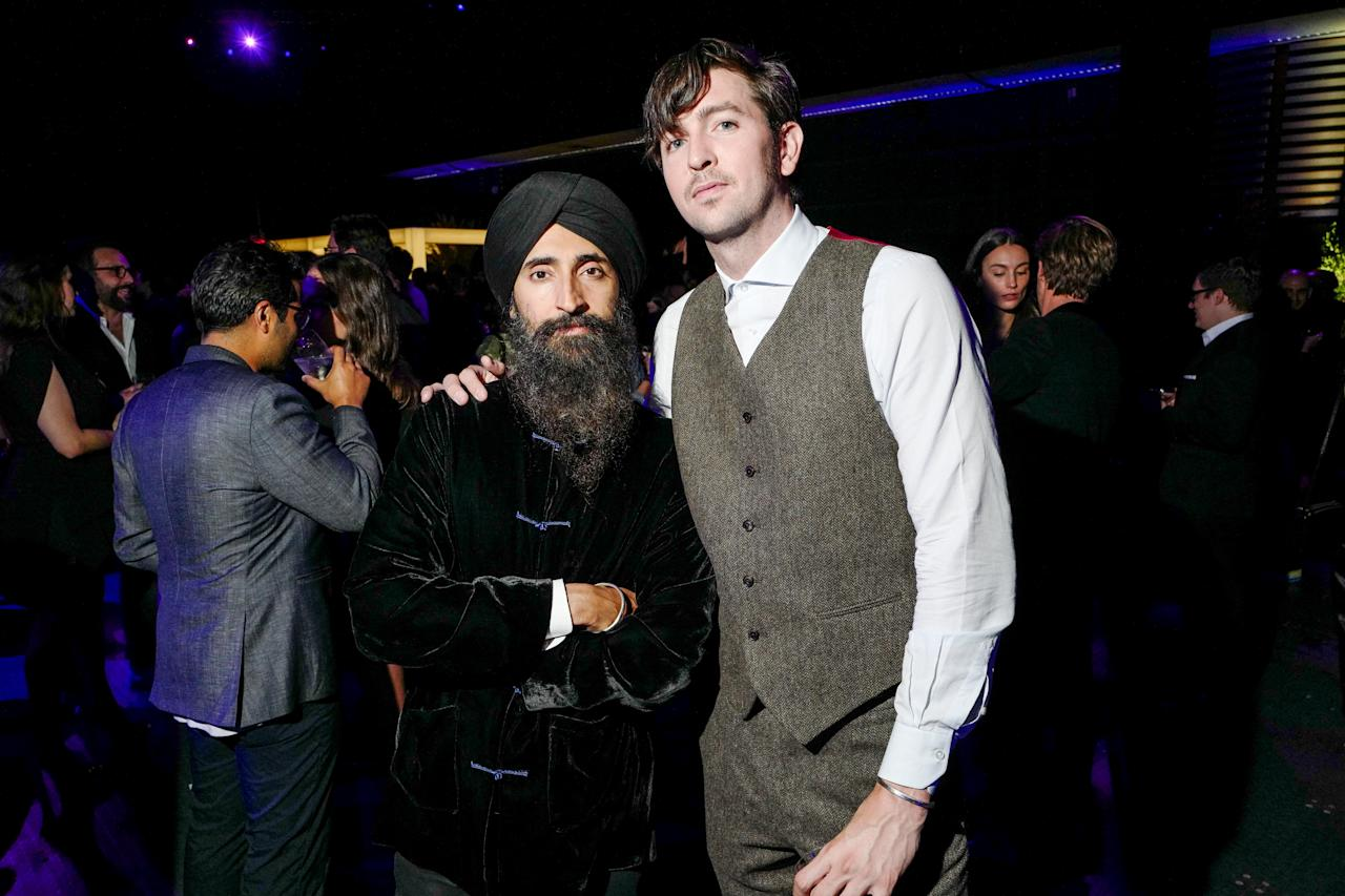 Waris Ahluwalia and Nicholas Braun attend Creative Time's annual gala, honoring Jenny Holzer, at Skylight Studios in New York on October 24, 2019.