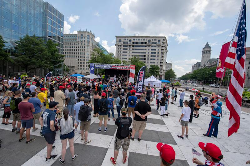 "Members of the Proud Boys, an extremist group with ties to White Nationalism, gather during a ""Rally for Free Speech"" on July 6, 2019 in Washington."