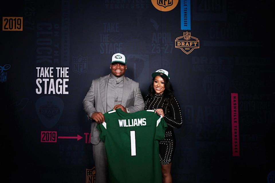 Quinnen Williams and his agent Nicole Lynn were all smiles after the Jets selected the Alabama star defensive lineman third overall in the NFL draft. (Photo courtesy of Nicole Lynn)