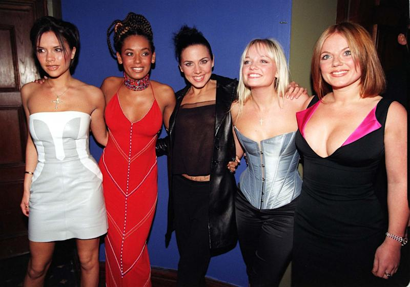 All girl pop band, The Spice Girls, arrive for their post concert party in London last night (Tuesday April 14) after a triumphant first of eight shows at Wembley Arena. See PA story SHOWBIZ Spice. Left to right: Victoria, 'Posh Spice'; Mel B,'Scary Spice'; Mel C, 'Sporty Spice'; Emma, 'Baby Spice' and Geri, 'Ginger Spice'. Photo by Sean Dempsey/PA