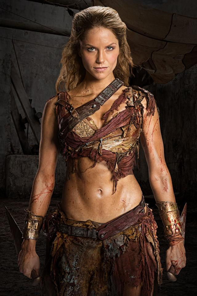 "Ellen Hollman as Saxa in ""Spartacus: War of the Damned"" on Starz."