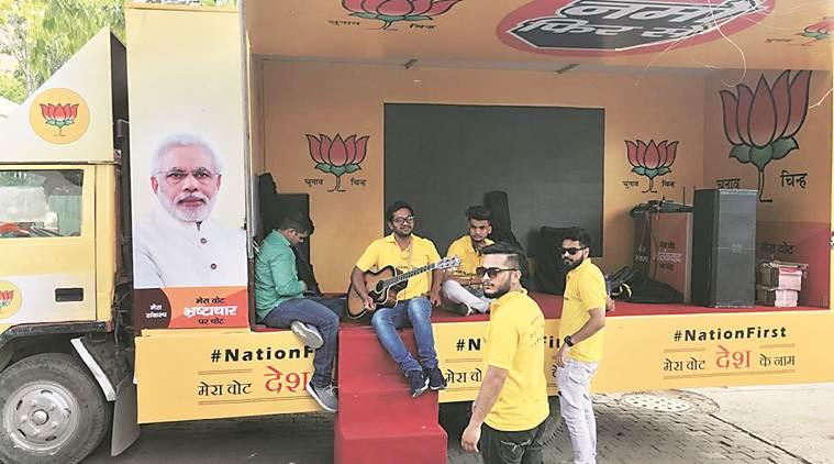 Outside BJP Delhi office, two trucks packed with artistes wait for poll panel's green signal