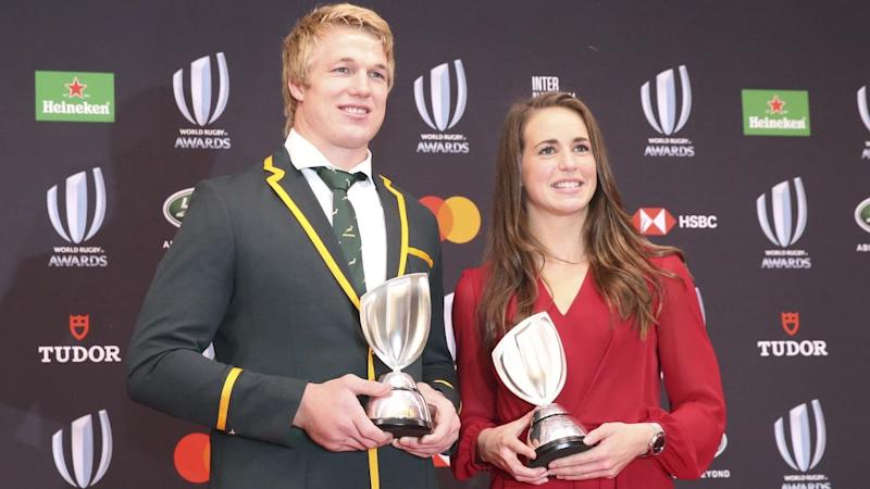 South Africa's Steph Du Toit (L) and England's Emily Scarratt have been named players of the year
