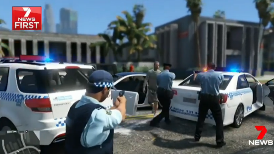The game also shows NSW Police officers in violent confrontations with offenders. Source: 7 News