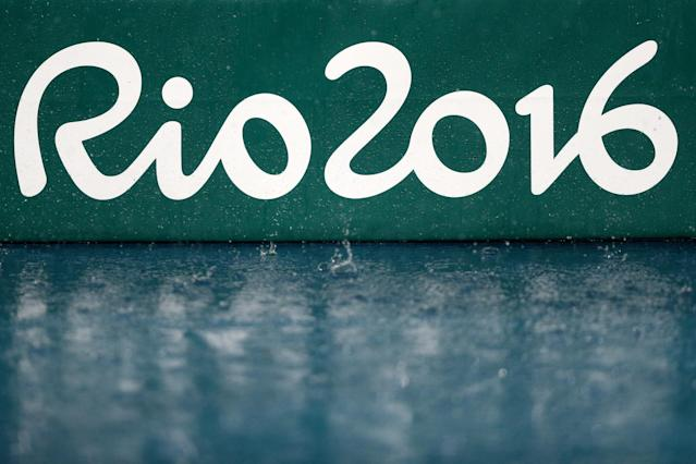 <p>Rain falls on the track at the Olympic Stadium on Day 10 of the Rio 2016 Olympic Games on August 15, 2016 in Rio de Janeiro, Brazil. (Getty) </p>