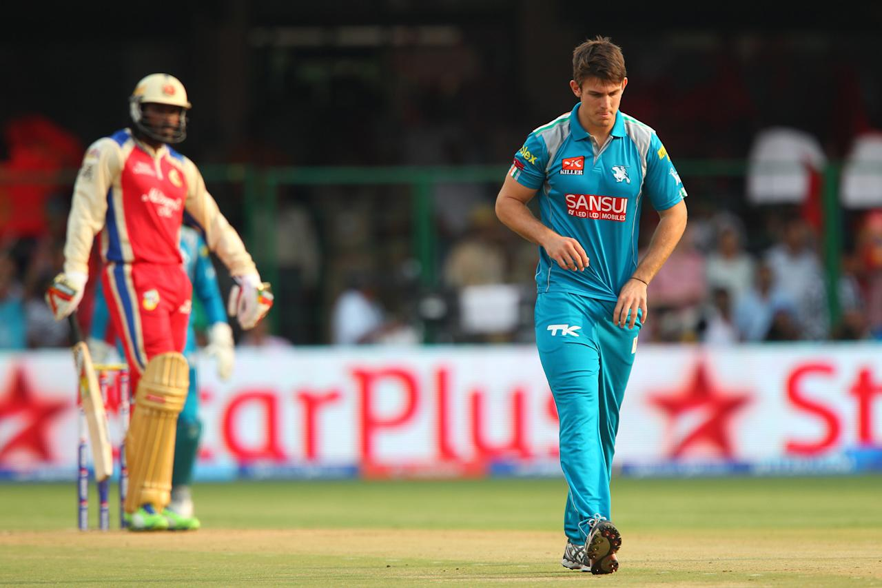 Mitchell Marsh reacts after bowling during match 31 of the Pepsi Indian Premier League between The Royal Challengers Bangalore and The Pune Warriors India held at the M. Chinnaswamy Stadium, Bengaluru  on the 23rd April 2013..Photo by Ron Gaunt-IPL-SPORTZPICS ..Use of this image is subject to the terms and conditions as outlined by the BCCI. These terms can be found by following this link:..https://ec.yimg.com/ec?url=http%3a%2f%2fwww.sportzpics.co.za%2fimage%2fI0000SoRagM2cIEc&t=1493257005&sig=mMQU1.L5qxtuNo0FczYeEw--~C