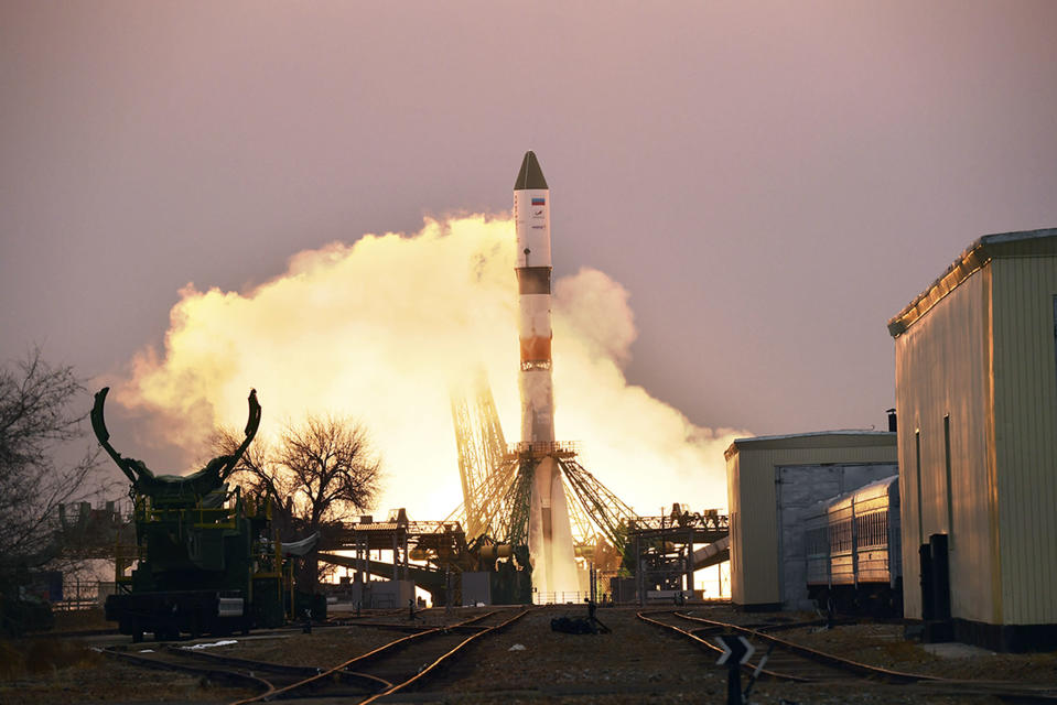 In this photo provided by Roscosmos Space Agency Press Service, the Progress MS-16 cargo blasts off from the launch pad at Russia's space facility in Baikonur, Kazakhstan, Monday, Feb. 15, 2021. The Russian Progress MS-16 cargo ship blasted off from the Russia-leased Baikonur launch facility in Kazakhstan and reached a designated orbit en route to the International Space Station. (Roscosmos Space Agency Press Service photo via AP)