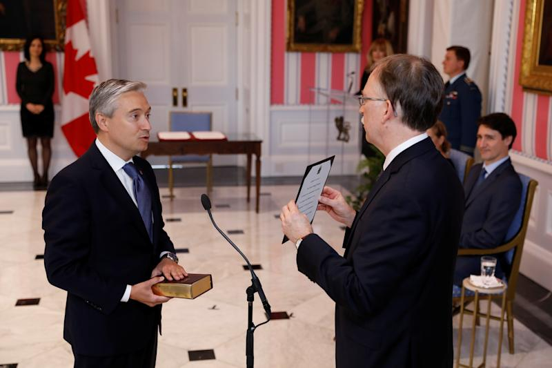 Francois-Philippe Champagne is sworn-in as Minister of Foreign Affairs during the presentation of Trudeau's new cabinet, at Rideau Hall in Ottawa, Ontario, Canada November 20, 2019. REUTERS/Blair Gable