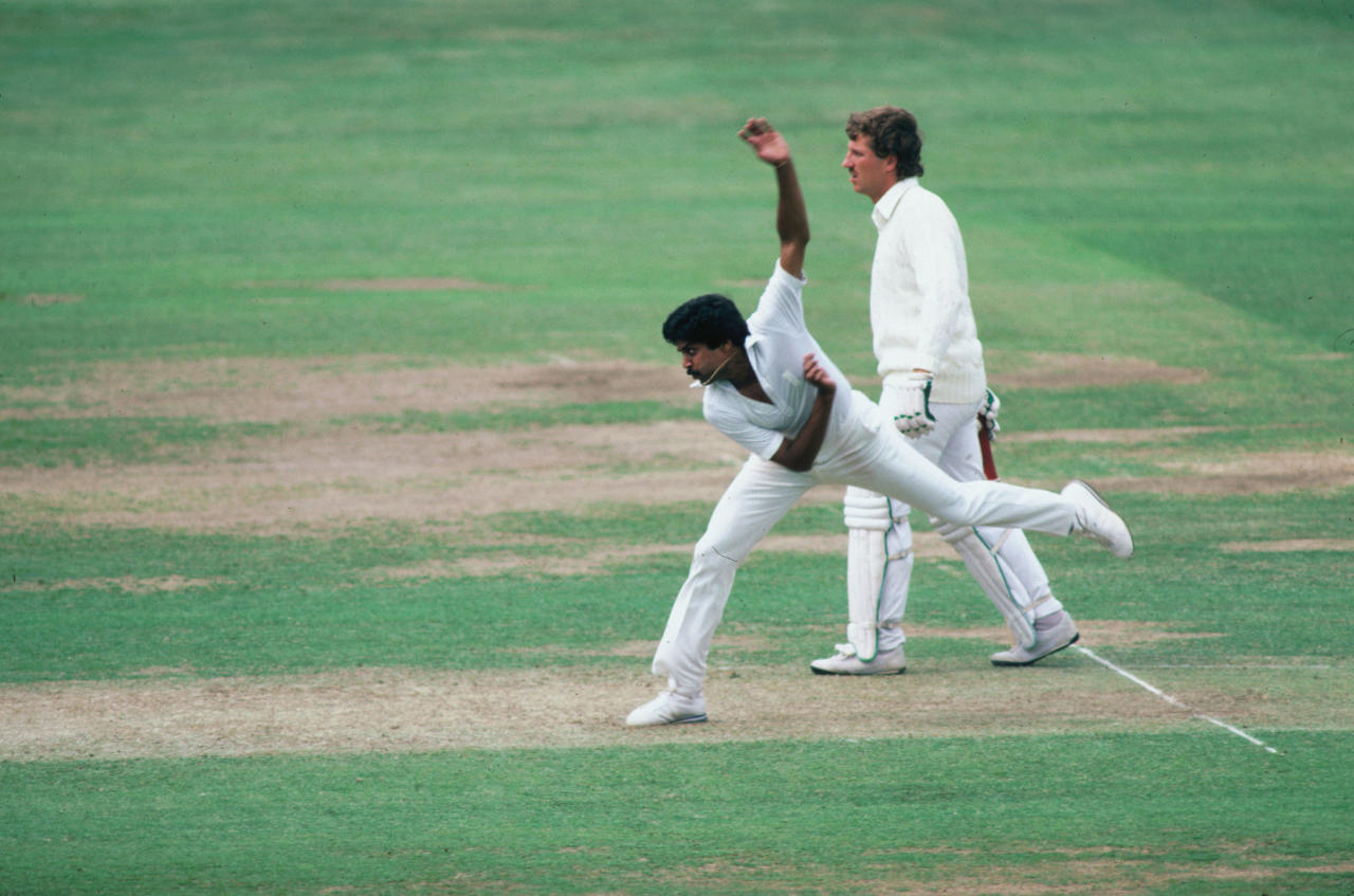 Kapil Dev bowls for India during the First Test Match against England at Lords, June 1982. (Photo by Adrian Murrell/Getty Images)