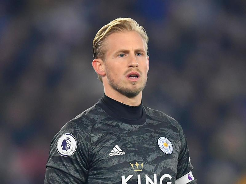 Leicester goalkeeper Kasper Schmeichel, whose father played in goal for Manchester United: Getty Images