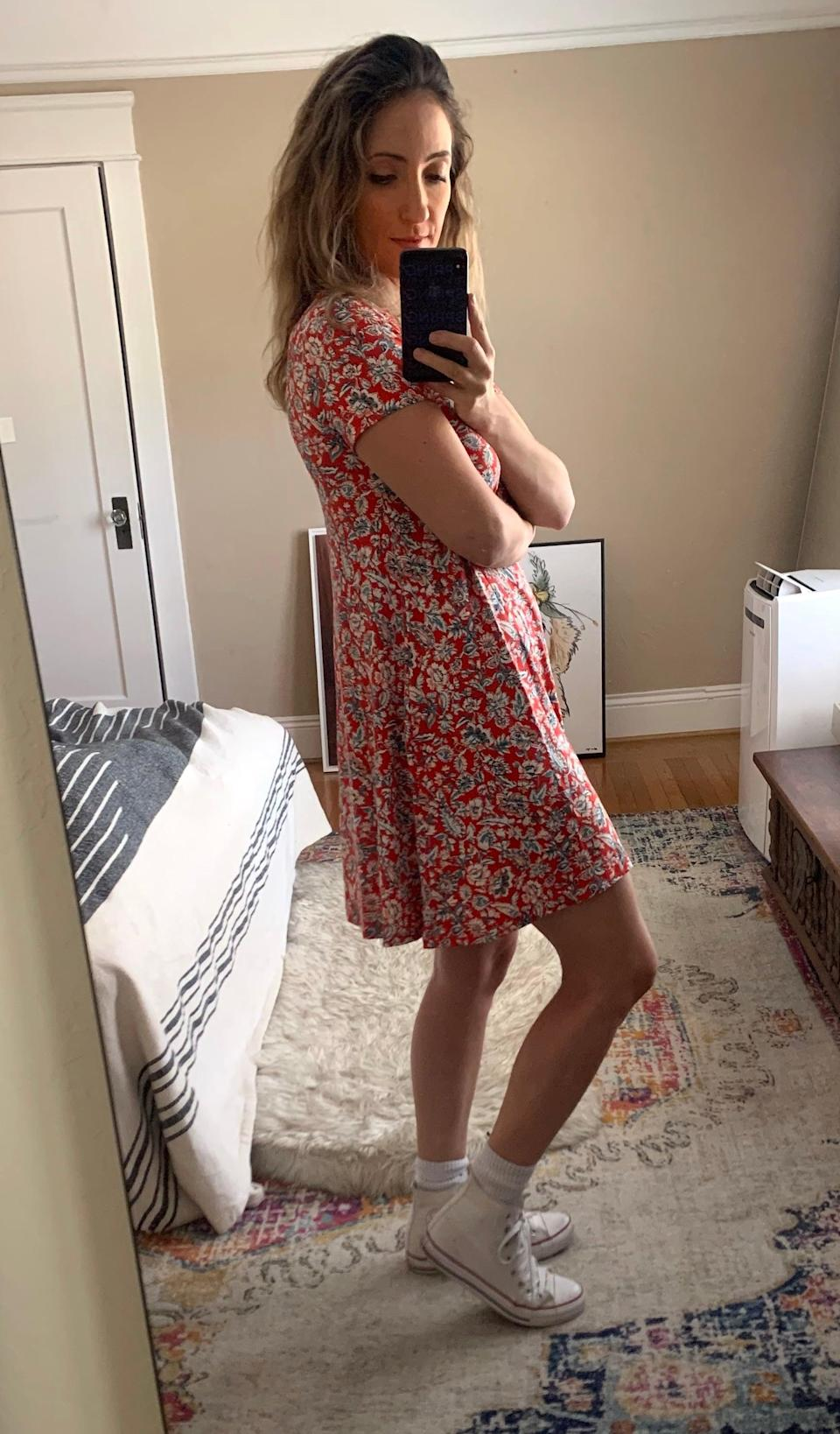 """<p><strong>The item:</strong> <span>Old Navy Jersey Swing Dress</span> (Sold Out)</p> <p><strong>What our editor said: </strong>""""The dress fits exactly like a T-shirt up top and is relaxed through the body with a flared hem that swings out as you walk, so there is a ton of space to move around. I also didn't want it to be too long because I knew I'd want to wear the dress with socks and sneakers; I like when dresses hit a few inches up above the knee."""" - RB</p> <p>If you want to read more here is the <a href=""""http://www.popsugar.com/fashion/comfortable-floral-dress-at-old-navy-editor-review-47582000"""" class=""""link rapid-noclick-resp"""" rel=""""nofollow noopener"""" target=""""_blank"""" data-ylk=""""slk:complete review"""">complete review</a>.</p>"""