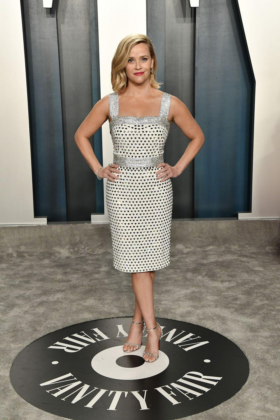 <p>The producer/actress was all about glitz and glamour at the Vanity Fair Oscars After Party in this Dolce and Gabbana cocktail dress.</p>
