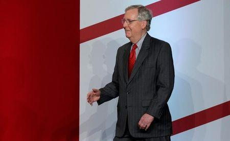 """Senate Majority Leader McConnell arrives to speak to The Faith and Freedom Coalition's """"Road To Majority"""" conference in Washington"""