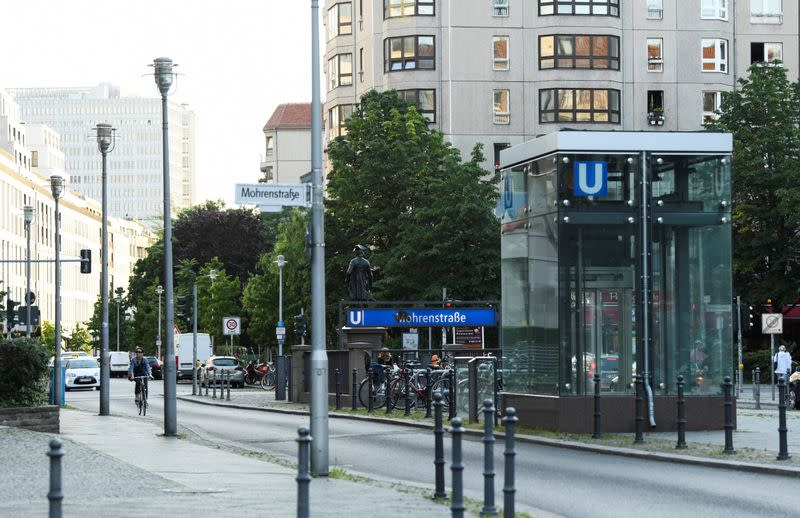 """The entrance of """"Mohrenstrasse"""" subway station is seen in central Berlin"""