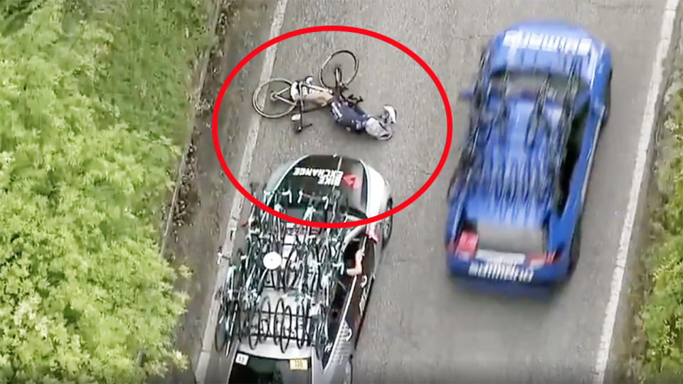 The BikeExchange car, pictured here after running into Pieter Serry.
