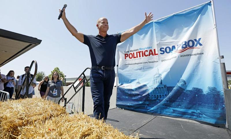 Delaney gestures at the end of his speech during a visit to the Iowa state fair in Des Moines earlier this month.