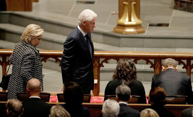 <p>Former first lady Hillary Clinton and former President Bill Clinton arrive at St. Martin's Episcopal Church for a funeral service for former first lady Barbara Bush in Houston, Texas, April 21, 2018. (Photo: David J. Phillip/Pool via Reuters) </p>
