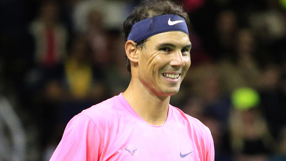 Rafael Nadal is pictured on court in March 2020.