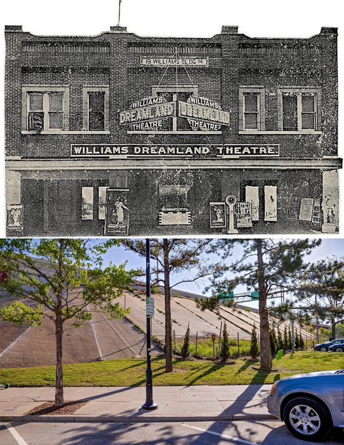 Top: The Dreamland Theater, the city's first for Black audiences, was a busy 750-seat venue that showed silent movies, staged live performances and served as a political hub. It was destroyed in the attack. The Williams family reopened the venue but were forced to sell it during the Great Depression. (Tulsa Historical Society & Museum)  Bottom: The area where the Dreamland Theater once stood in the Greenwood District of Tulsa, Oklahoma, on Wednesday, April 21, 2021. The area was once filled with Black-owned homes and businesses that were destroyed in the 1921 Race Massacre.