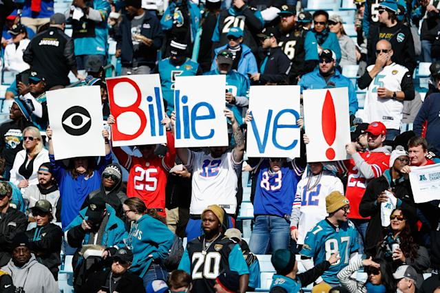 <p>Fans hold up signs before the start of the AFC Wild Card Playoff game between the Buffalo Bills and Jacksonville Jaguars at EverBank Field on January 7, 2018 in Jacksonville, Florida. (Photo by Scott Halleran/Getty Images) </p>