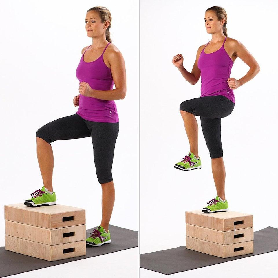 <ul> <li>Start with your medium dumbbells in each hand; 10 pounds is a good starting point. Stand in front of a box, bench, or chair, and place your right foot in the center.</li> <li>Step up, then bring your left knee forward and up.</li> <li>Lower yourself back to the floor, with your foot landing quietly. This completes one rep.</li> <li>Complete four sets of 10 reps on each leg.</li> </ul>