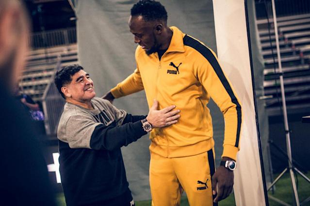 Usain Bolt meets Diego Maradona: Sporting legends pull iconic pose ahead of Match of Friendship 2018